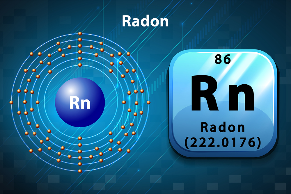 Periodic symbol and diagram of Radon, an element we test for while providing home inspection services